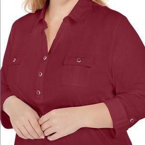 Karen Scott Merlot Cotton 3/4 Sleeve Polo Top 1X